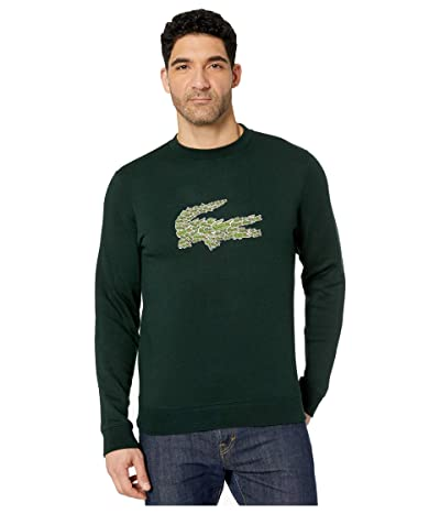 Lacoste Long Sleeve Brushed Molleton Sweater (Sinople) Men