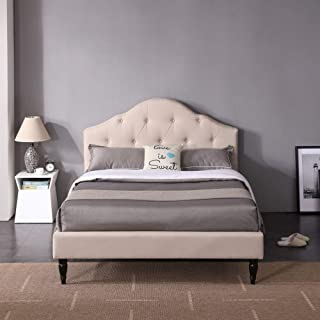 Winterhaven Upholstered Platform Bed | Headboard and Wood Frame with Wood Slat Support | Linen, Queen