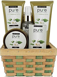 Pure! Herbal Collection Spa Basket - #1 Birthday Gift Basket for Women! Keeps Giving! Cleansed & Hydrated with Green Tea S...