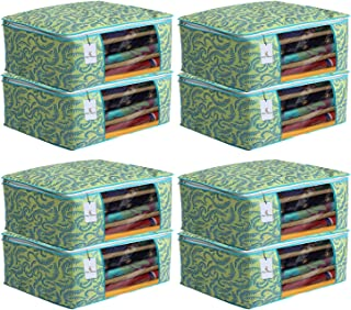 Kuber Industries Metalic Flower 8 Piece Non Woven Saree Cover Set, 7 inch, Green