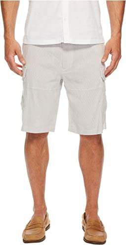 Striped Linen Cargo Shorts