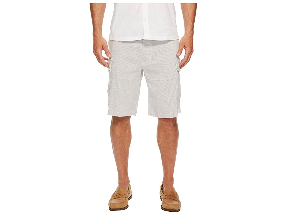 Perry Ellis Striped Linen Cargo Shorts (Natural Linen) Men