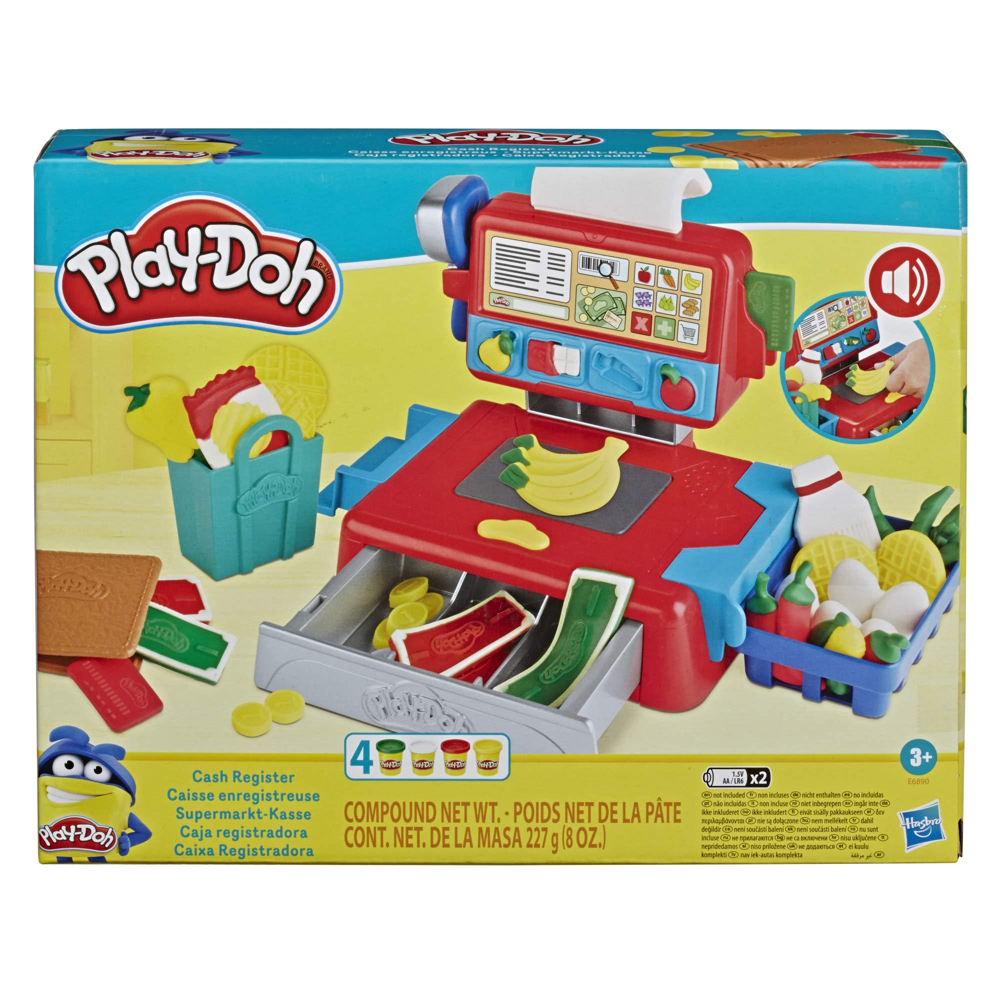 Play-Doh Caja registradora de Juguete para niños de 3 años en adelante con Divertidos Sonidos, Accesorios de Comida y 4 Colores no tóxicos (Hasbro E6890): Amazon.es: Juguetes y juegos