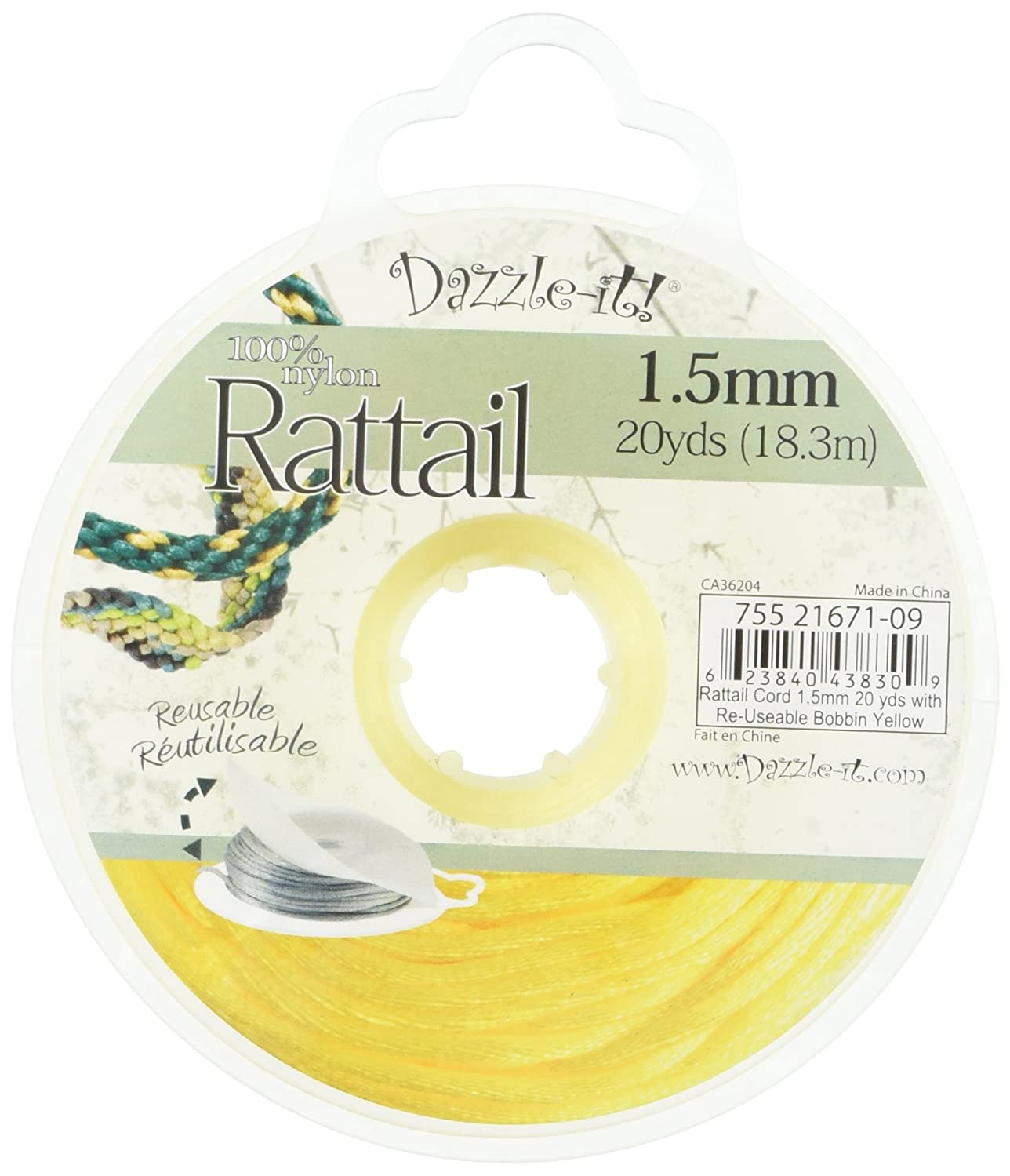 DARICE 1999-4694 20-Yard Nylon Rattail Cord, 1.5mm, Yellow