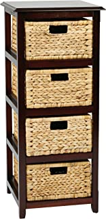 OSP Designs Office Star Seabrook 4-Tier Storage Unit with Natural Baskets, Espresso