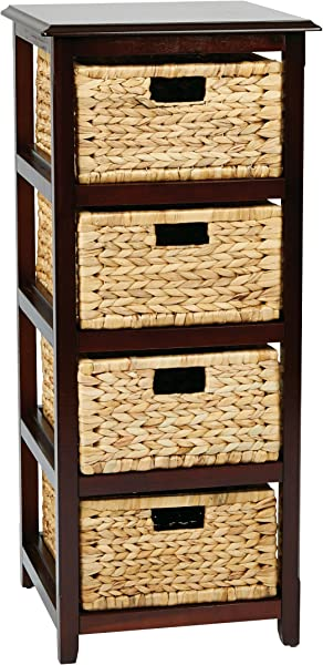 OSP Designs SBK4514A ES Office Star Seabrook 4 Tier Storage Unit With Natural Baskets Espresso