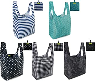 Reusable Grocery Bags Set, Grocery Tote Foldable into Attached Pouch, Ripstop Polyester Reusable Shopping Bags, Washable, Durable and Lightweight (Classic Pattern 5 Pack)