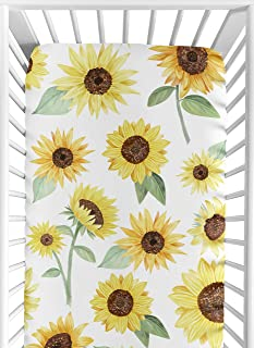 Sweet Jojo Designs Yellow, Green and White Sunflower Boho Floral Girl Baby or Toddler Nursery Fitted Crib Sheet - Farmhous...