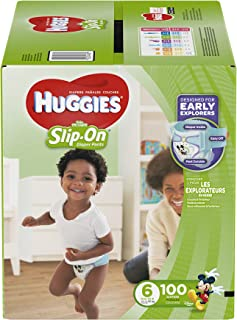 Huggies Little Movers Slip On Diaper Pants, Size 6, 100 Count, One Month Supply