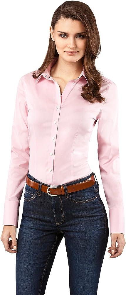 Vincenzo boretti, camicia-blusa per donna elegante, slim-fit, elastica-stretch, 72% cotone, 24% poliammide, 4% 10010738_2915B