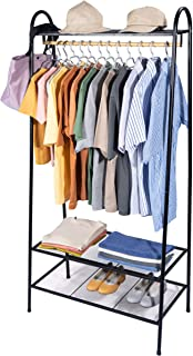 Garment Rack Heavy Duty Free-Standing Clothes Rack with Top Rod, Multi-Functional Bedroom Hangers Clothing Hanging Stand O...
