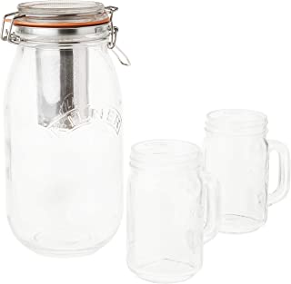 Kilner 9-Piece Cold Brew Coffee Set, Large Clip Top Glassware Jar for Steeping and Storing, Includes Stainless Steel Filter, Handled Drinking Jars, Instruction Leaflet and More, 68-Fluid Ounces