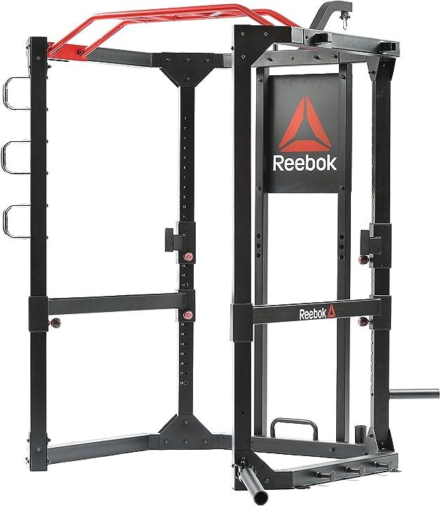 Stazione fitness reebok functional cage station multifunzione, nero/rosso, taglia unica RSRG-10400