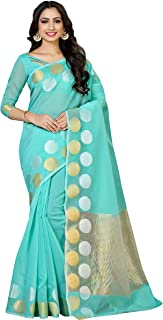 MIMOSA Women's Kanchipuram Cotton Saree With Unstitched Blouse (4063-AB-7099-RMA_Turquoise)