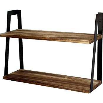 Peter's Goods 2-Tier Rustic Floating Wall Shelves for Bedroom, Kitchen, Living Room, Bathroom Decor & Storage - Modern Rustic Farmhouse Bookshelf, Industrial Wall-Mounted Wood Book & Display Shelving