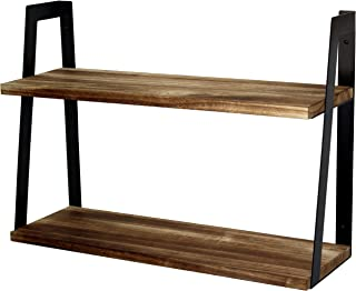 Peter`s Goods 2-Tier Rustic Floating Wall Shelves for Bedroom, Kitchen, Living Room, Bathroom Decor & Storage - Modern Rustic Farmhouse Bookshelf, Industrial Wall-Mounted Wood Book & Display Shelving
