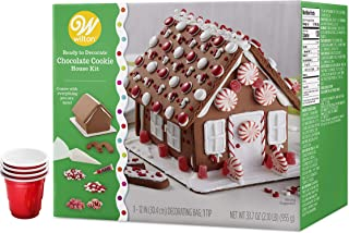 Gingerbread House Kit, Chocolate Cookie Pre-assembled House, Sweet Candy Land Design - Includes 2 Candy Cane Cookies, Icing, Fondant, Candies, 4 Candy Cups