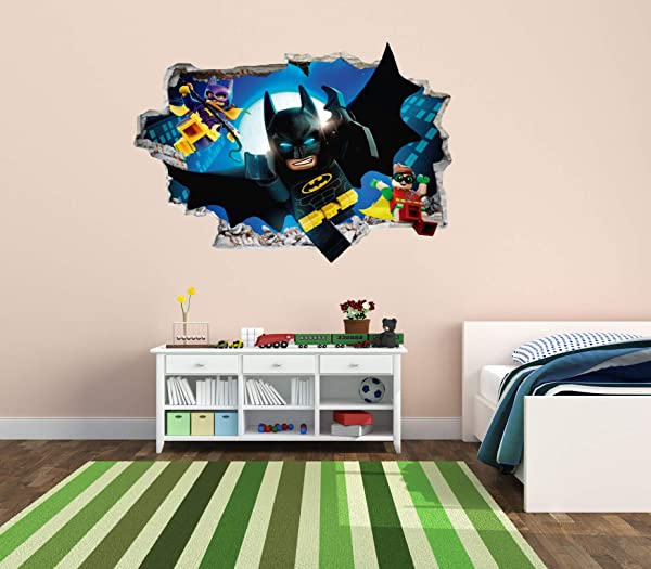 Batman And Friends 3D Smashed Wall Effect Wall Decal For Nursery Kids Decoration Wide 20 X14 Height