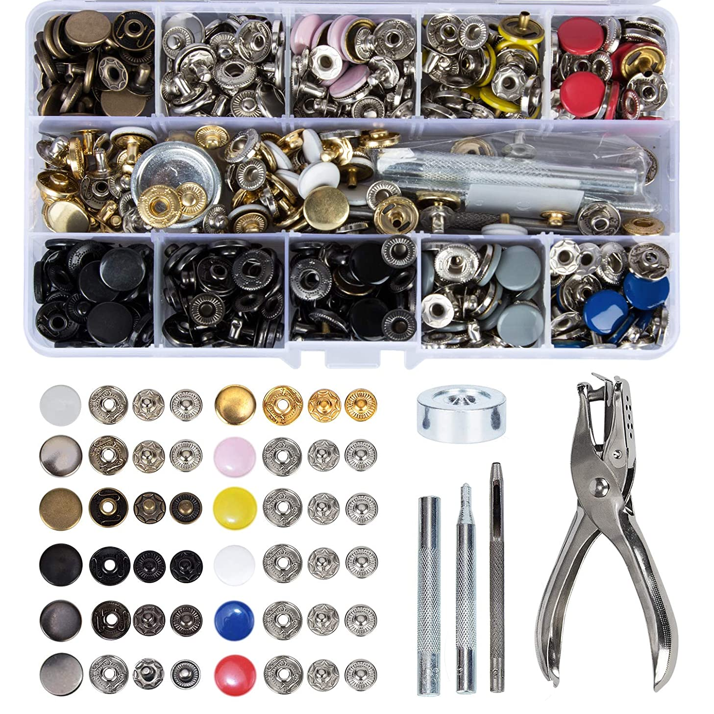 HOMEIDOL Snap Fastener Kit 12 Colors, 150 Sets Metal Snap On Buttons Set Press Studs with Fixing Tools for Thin Leather Bracelet, Shirt, Skirt, Jacket, Jeans, Bags Repair and Decoration