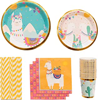 Llama Party Supplies | Stunning Real Gold Foil | Serves 16 | Great for Llama, Cactus, Fiesta Birthday or Baby Shower Themes
