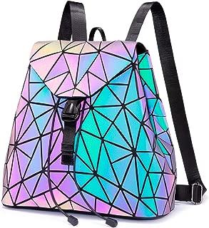 Geometric Luminous Backpack for Women Holographic Reflective Purses Crossbody Bag Wallet