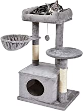 SUPERJARE Cat Tree with Plush Condos & Dangling Balls, Kitten Tower Center with Plush Perch & Basket Lounger, Pet Play Con...