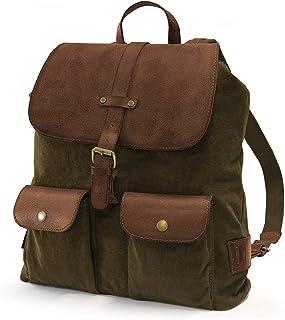 Day Pack - Mochila purista de diseño Retro Vintage, para Hombres y Mujeres, Hecha a Mano, 15L, Lona y Cuero, Verde Oliva, DR00139
