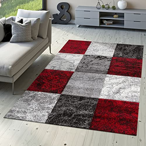 751954892a9 T T Design Designer Rug Valencia Modern With Marble Look Checked Mottled Red  Grey White