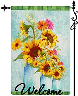 Coskaka Welcome Sunflowers Bouquet Garden Flag,Summer Small Flowers Vase Vertical Double Sided Buffalo Check Plaid Rustic ...