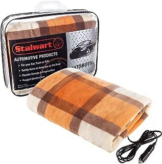 Stalwart 75-BP1011 Orange Electric Blanket-Heated 12V Polar Fleece Travel Throw for Car, Truck & RV-for Cold Weather, Tailgating & Emergency Kit