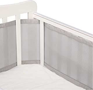 Caroeas Babycare Crib Bumper, Adjustable Padded Breathable Crib Bumper, Fits Standard and Other Cribs, Soft Crib Bumper Pads Full Protection, Mesh Crib Bumper (Grey)