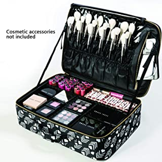 ROWNYEON Makeup BagTrain Case Travel Makeup Bag Travel Cosmetic Bag Professional Portable Makeup Artist Bag Organizer with EVA Adjustable Dividers In Polyester Women Girls (Large, Pattern)