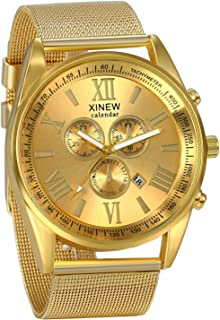 JewelryWe Luxury Men's 3 Eyes Calendar Watch Stainless Steel Mesh Band Quartz Wrist Watches Gold