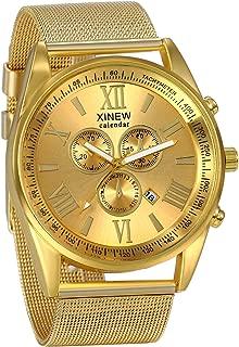JewelryWe Luxury Men's 3 Eyes Calendar Watch Stainless Steel Mesh Band Quartz Wrist Watches for Halloween Gold Black Silver