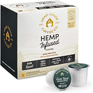 Hemp House Dark Roast Hemp Infused Coffee, 16ct. Gourmet Organic, Fair Trade Coffee Packed in Recyclable Single Serve Pods, K-cup compatible including 2.0