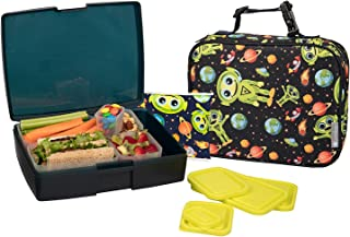 Bentology Lunch Bag and Box Set for Boys - Includes Insulated Durable Sleeve with Handle, Bento Box, 5 Containers and Ice Pack - BPA & PVC Free - Alien