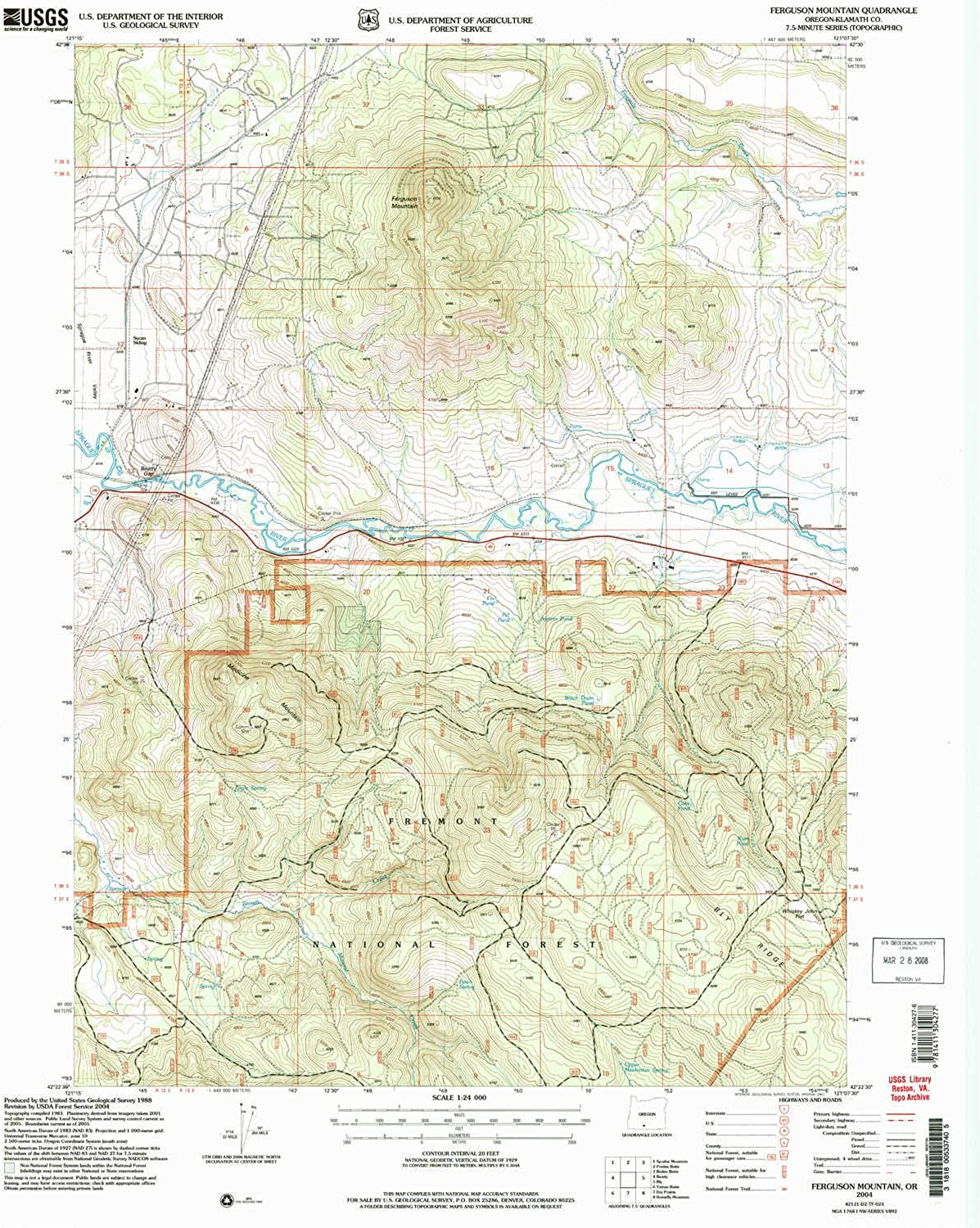 Ferguson Mountain OR topo map, 1 24000 Scale, 7.5 X 7.5 Minute, Historical, 2004, Updated 2004, 26.8 x 22 in