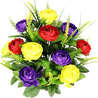 Admired By Nature 22 Stems Artificial Ranunculus & Fillers Mixed Flowers Bush for Home office, Restaurant, Wedding Decoration, Red/Yellow/Purple