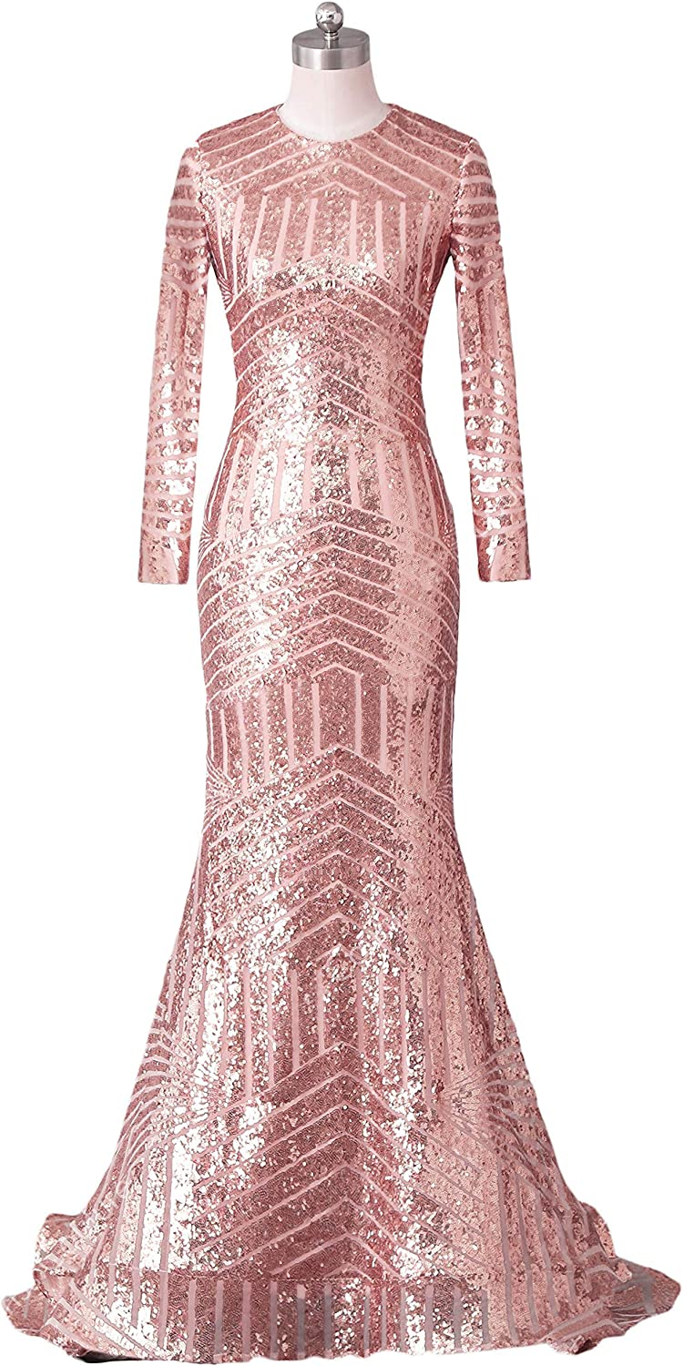 Annabride Women's Long Crew Neck Sequins Formal Prom Dresses with Sleeves Evening Party Gown 13PM