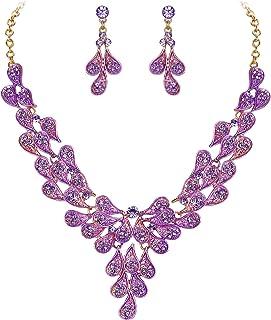 Clearine Costume Fashion Jewelery Set for Women Multi Teardrop Cluster Y-Shaped Necklace Dangle Earrings
