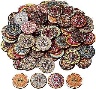 nuoshen 100 Stücke Vintage Knöpfe, Knöpfe Bunt Knöpfe Aus Holz Handmade Knöpfe Vintage Rund Knopf Knöpfe zum Basteln und Nähen von Dekorationen