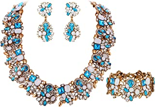 Women's Vintage Statement Costume Choker Chunky Necklace Earrings Bracelet Jewelry Set for Banquet,Prom