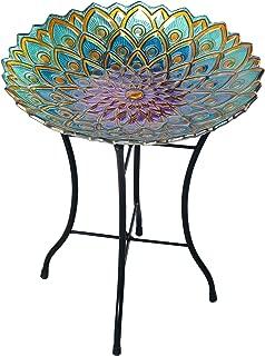 Peaktop Outdoor Bird Bath Mosaic Flower Fusion Glass, 21.2