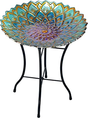 Peaktop 3014051 Birdbath Bowl Fountain Handpainted Mosaic Flower Fusion Glass Pedestal Bird Bath for Outdoor Patio Garden Bac