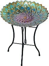 Peaktop Outdoor Mosaic Garden Glass Birdbath with Metal Stand, 21.2