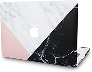 """KECC Laptop Case for MacBook Air 13"""" Plastic Case Hard Shell Cover A1466 / A1369 (White Marble with Pink Black)"""