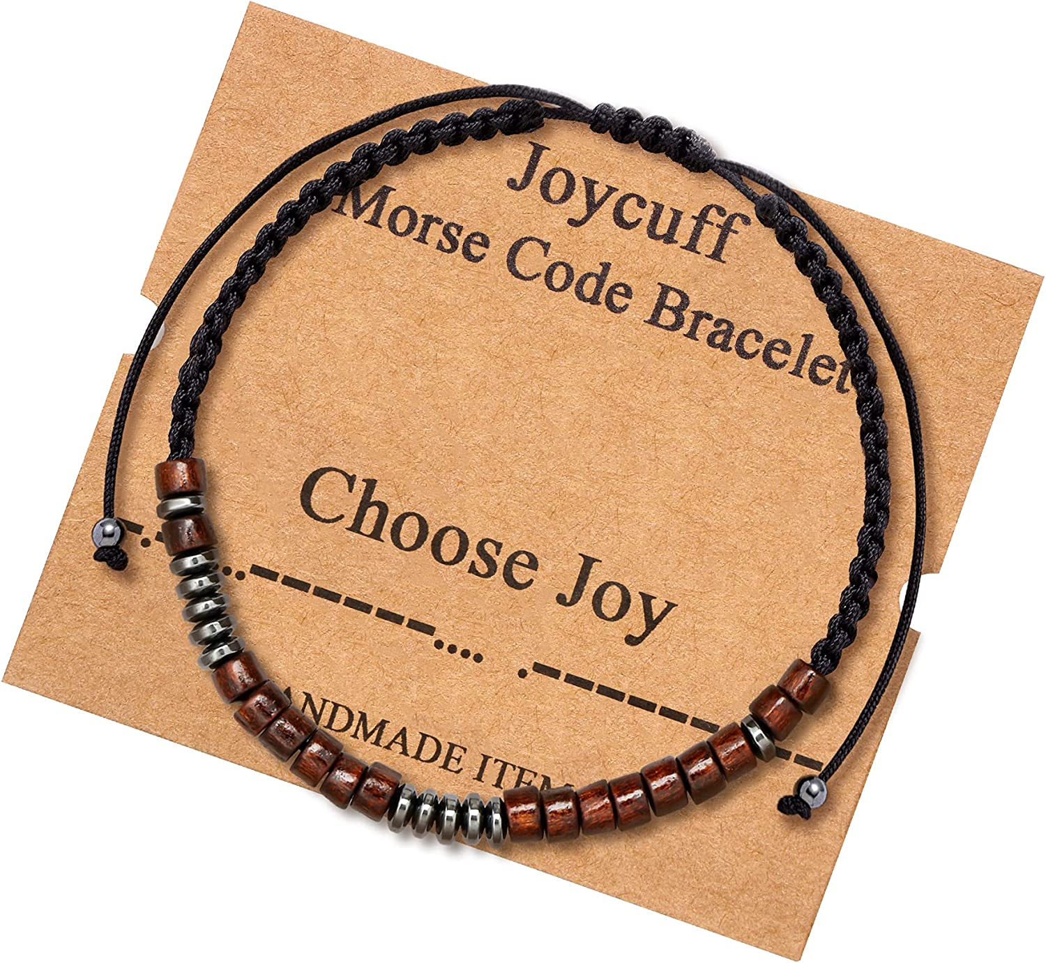 Inspirational Morse Code Bracelet for Women Secret Message Wood Beads with Cord Jewelry Birthday Christmas Mother's Day Gift for Her Mother Grandmother