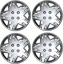 Tuningpros WC3-14-509-S - Pack of 4 Hubcaps - 14-Inches Style 509 Snap-On (Pop-On) Type Metallic Silver Wheel Covers Hub-caps