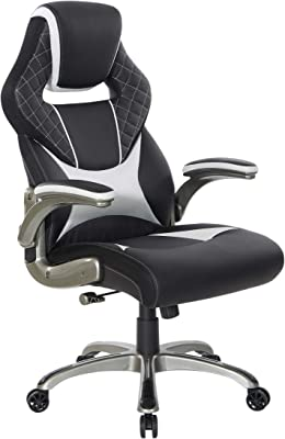 OSP Home Furnishings Oversite Ergonomic Adjustable High Back Gaming Chair, Black Faux Leather with White Accents