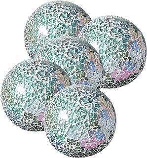 Whole Housewares Decorative Balls Set of 5 Glass Mosaic Sphere Dia 3